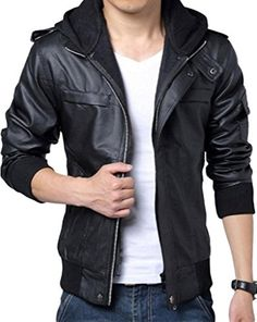 Wantdo Men's Fashion Zipper Faux Jackets Pu Leather Jackets with Hoodie | Smart Pinner