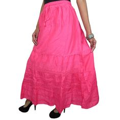 Mogulinterior Womens Long Maxi Skirt Solid Pink Hippie Gypsy Summer Casual Cotton Skirts