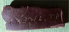 Fig. 3.6 The Bat Creek Stone, excavated in Tennessee in 1889, measures about 5 inches long and 2 inches wide, and is inscribed with eight palaeo-Hebrew characters from about the 1st or 2nd century AD.2