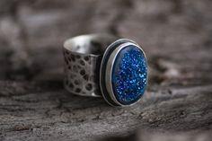 Druzy Titanium Sterling Silver Ring