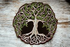Celtic Tree of Life Patch Handmade Tree Embroidery