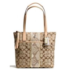 'BNWT, F27362 Coach Python Stripe Tote' is going up for auction at  3pm Sun, Nov 3 with a starting bid of $1.