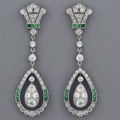 Fabulous Art Deco emerald and diamond earrings. by lbgerstel