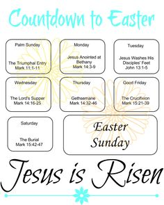 """Updated: I have made a brand new color """"Countdown to Easter."""" Of course, the black and white one is still available too. I created this printable countdown to give to the children in my Sunday school class so they could use it with their families to prepare for Easter and be able to read the story leading up to Easter. It seems we jump straight from Palm Sunday to the Resurrection without any mention of the cross or the events leading up to it. Even if you have a Good Friday service some…"""