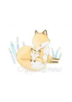 Nursery Art FOX Mom LOVE Art Print Chidren's art. por AidaZamora