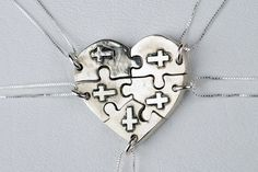 Five sisters jewelry | Puzzle Piece Heart Necklace Jewelry Personalized Custom Sterling ...