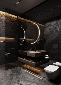 Hoy en día son más las personas que optan por agregar tonos oscuros a los baños. Colores que van desde los grises oscuros, marrones, negros… en acabados como pueden ser los alicatados y sanitarios. Para baños grandes, también puedes optar por hormigones o cementos pulidos, maderas y piedras variadas. #baños #bañososcuros #decoración #ideasbaño #ideas #tonososcuros Washroom Design, Toilet Design, Bathroom Design Luxury, Modern Bathroom Decor, Modern Bathroom Design, Bathroom Ideas, Modern Design, Home Room Design, House Design