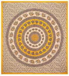 Yellow & Blue Elephant Circle Indian Tapestry - Mandala Wall Hanging for Dorms by Sunshine Joy, http://www.amazon.com/dp/B006WR4L0U/ref=cm_sw_r_pi_dp_D3quqb18JMDGQ