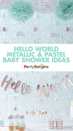 Looking for baby shower ideas? Throw a beautiful rose gold and pastel baby shower with our new Hello World baby shower supplies. Read our Hello World baby shower ideas for inspiration for decorations, food, baby shower games and more!