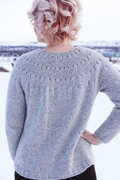 Ravelry: Easy Eyelet Yoke Sweater pattern by Knitatude / Chantal Miyagishima Knitting Kits, Sweater Knitting Patterns, Knitting Stitches, Knitting Tutorials, Free Knitting, How Do You Knit, How To Wear, Purl Stitch, Knit In The Round