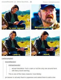 Bobby Singer Supernatural -- more proof that you can say whatever you want in another language and it gets by the censors.: