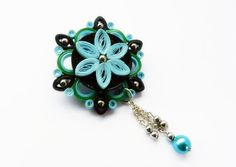 Blue green black brooch quilled paper flower by VasariahCreations, €10.00