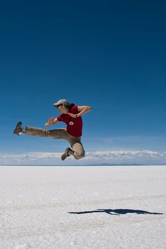 Salt flats, Bolivia Bolivia, Travel Around The World, Around The Worlds, Jumpin' Jack Flash, Jumping For Joy, High Jump, Modern Dance, World Traveler, Karate