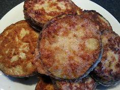Fried chickpeaflour breaded eggplant