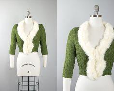 Vintage 1950s Cardigan   50s Ribbon Knit Rabbit Fur Collar Green Rayon White Cropped Sweater (small/medium)   Birthday Life Vintage on Etsy