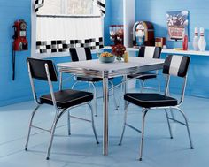Retro Kitchen Table and Chairs  http://coastersfurniture.org/shabby-chic-furniture/retro-furniture/
