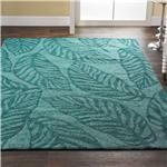 Aqua Leaves Indoor Outdoor Rug Large leaves outlined in teal on aqua offer high fashion color in an easy care area rug for indoor or outdoor use. Large loops are soft underfoot and durable for casual living. Tropical Rugs, Tropical Style, Tropical Kitchen, Mid Century Modern Rugs, Large Floor Cushions, Aqua Decor, Coastal Rugs, Indoor Outdoor Rugs, Outdoor Decor