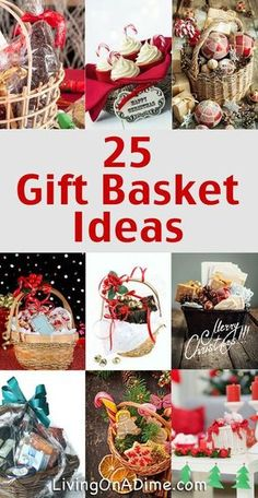 25 Easy, Inexpensive and Tasteful Gift Basket Ideas Gift basket Ideas These easy gift basket ideas are inexpensive and tasteful including tips, specific themes and easy mix recipes for great and inexpensive gifts! Diy Gift Baskets, Christmas Gift Baskets, Diy Christmas Gifts, Holiday Crafts, Basket Gift, Raffle Baskets, Gift Basket Themes, Creative Gift Baskets, Food Baskets