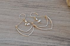 14K Gold Filled Hand Hammered Double V Earrings with Seed Pearl Clusters by NatalieSommerAdornme on Etsy