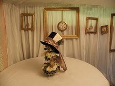 Steampunk Alice in Wonderland centrepiece / frames backdrop
