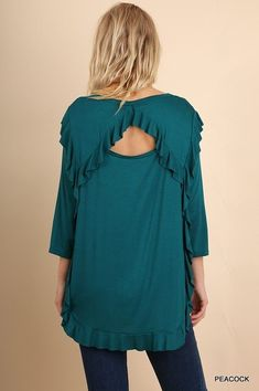 049089bdde97 umgee 3/4 Sleeve Ruffled Top with a Scoop Hem and Back Cutout s m l #