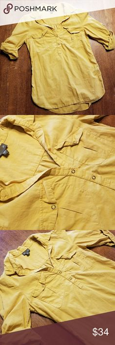 Anthropologie Simple Compositions Blouse FEI Anthro Simple Compositions Blouse, Size 2, Anthropologie, Mustard yellow color, button-tabbed shirt, Front pockets, Button closure, Cotton, Machine wash Anthropologie Tops Blouses
