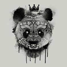 neo panda illustration detail art tee crown drawing paint spray paint drip