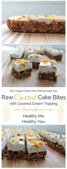 Raw Carrot Cake Bites with Coconut Cream Topping. These bite of spring are gluten-free, vegan, refined sugar-free and paleo. Find the recipe at http://www.fernsandpeonies.com