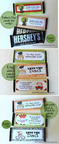 14 Father's Day Gifts- Hershey Candy Bar Wraps-Giant & Regular Sized Bars