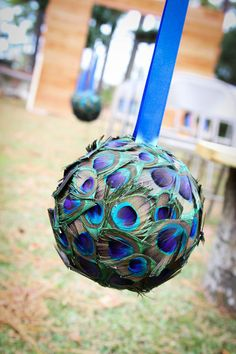 Peacock Wedding Peacock Pomander/Kissing Ball by ashlasiter11611, $300.00