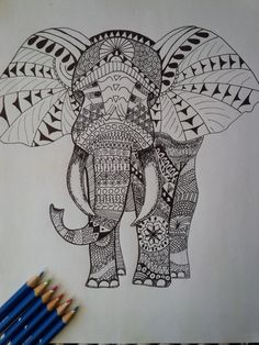 Adult Coloring Page Elephant - Zen Tangle, Zen Doodle, Ink Drawing