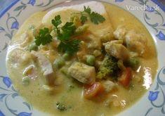 Kuracie kúsky so zeleninou v jemnej zeleninovo-smotanovej omáčke (fotorecept) Thai Red Curry, Ale, Chicken, Meat, Ethnic Recipes, Food, Ale Beer, Essen, Meals
