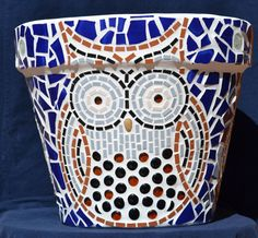 Mosaic Flower Pot - 3 Big-Eyed Owls surrounded by cobalt blue ceramic tile