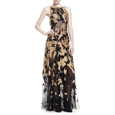 Donna Karan Hand-Embroidered Open-Back Gown (22 197 AUD) ❤ liked on Polyvore featuring dresses, gowns, burnished gold, ruffle dress, floor length evening gowns, black ball gown, floor length evening dresses and black sleeveless dress