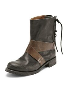 Strap detail boots - Wrap - Bitter chocolate ankle boots with vintage leather strap details. Laced back for an easy fit over trousers and a chunky 3cm heel, these boots were made for walking. 100% Leather upper and sole. Imported.