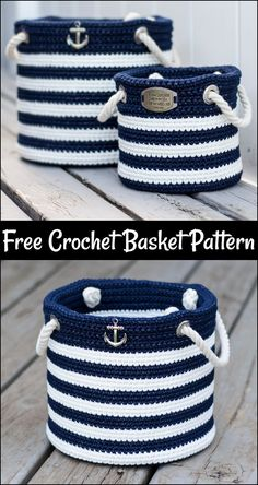 Free Crochet Basket Patterns,Free Crochet Nautical Basket-The possibilities are endless to make crochet basket free patterns that you can crochet and increase the beauty of your home. ideas for home projects Crochet Basket Free Patterns Diy Crochet Basket, Crochet Diy, Crochet Basket Pattern, Crochet Amigurumi, Crochet Home, Crochet Gifts, Knit Basket, Crochet Basket Tutorial, Tunisian Crochet