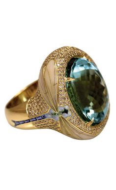 "Ring by jewelry designer Ilgiz Fazulzianov. He was awarded Grand prix at the jewellery design competition in Hong Kong twice - for his Bulfinches pendant and Moon Eclypse earrings. He also got the Grand Prix at this year's contest ""Russia. XXI Century"" organized by the State Treasury of Russia (Gokhran). His jewelry is now exhibited at the Diamond Fund of Russia in the Moscow Kremlin."