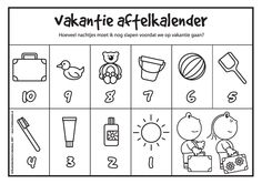 Vakantie aftelkalender met Frokkie Lola Summer Crafts For Kids, Diy For Kids, 4 Kids, Go Camping, Colouring Pages, Kids Playing, Summer Time, Printables, Teaching