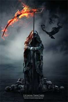 The Reaper's Raven ~ Liliana Sanches Grim Reaper Art, Grim Reaper Tattoo, Don't Fear The Reaper, Death Reaper, Dark Fantasy Art, Dark Art, Ange Demon, Bild Tattoos, Usmc Tattoos