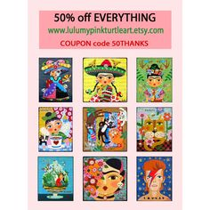 CYBER MONDAY SPECIAL ! 50% OFF EVERYTHING ! Frida Kahlo, Angels, Fairies, Cats and Dogs, Day of the Dead, Mermaids and more ! Prints, woodblocks, pendants, trading cards and papier maché boxes ! COUPON code 50THANKS www.lulumypinkturtleart.etsy.com