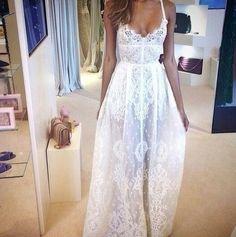 White lace- beach wedding!