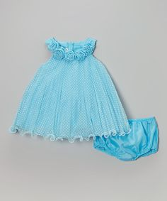 This Blue Pin Dot Yoke Dress & Diaper Cover - Infant, Toddler & Girls by Gerson & Gerson is perfect! #zulilyfinds