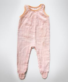 Peach Stripe Muslin Sleeveless Footie - Infant by Layered Cake on #zulily today! For those sweaty summer days