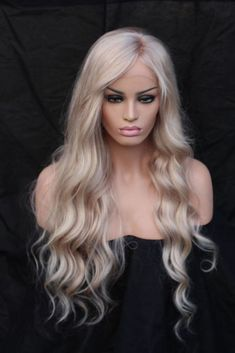 Lace Front Wig Blonde Wig Long Hair HAIR 22 Inchs For Black Women Hair Water Wave Long Ombre Black/Brown Synthetic Wigs African American hairstyle Grey Blonde Hair, Ombre Blond, Blonde Wig, Short Blonde, White Hair, Pale Blonde, Brown Hair, Platinum Blonde, Platinum Wigs