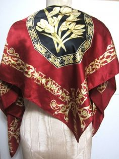 DEEP RED BLACK AND GOLDEN YELLOW ROYAL FLORAL PATTERN DESIGN 100% SILK SCARF $49.99