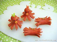 Hotdog octopus and crabs.
