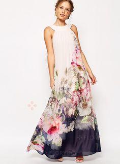 Vestidos de - $49.75 - Chiffon Floral Sem magas Longo Informal Vestidos de (1955114239)