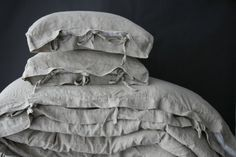 Linen duvet cover with small ties  linen bedding French by mooshop