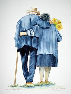 True Love Is Growing Old Together Vieux Couples, Old Couples, Couple Painting, Painting People, Growing Old Together, Alter, Watercolor Paintings, Watercolour, Art Drawings