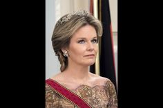 La reine Mathilde de Belgique au château de Laeken à Bruxelles, le 8 mars 2016